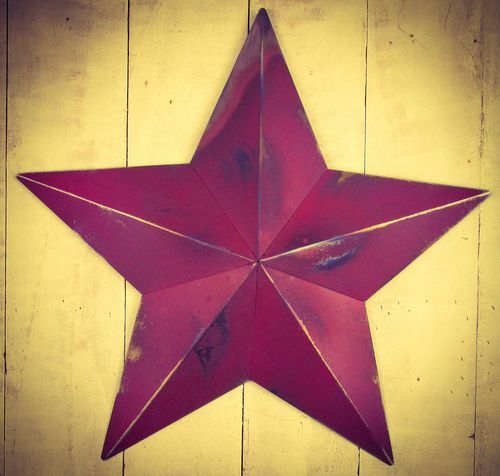 "Huge Metal 33"" Berry Red Amish Barn Star"